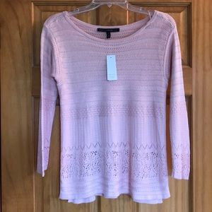 WHBM 3/4 length sleeve pink top / blouse XS